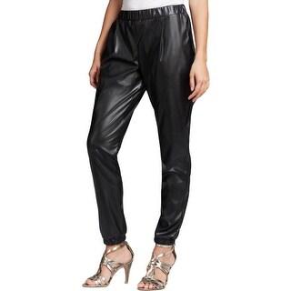 Aqua Womens Casual Pants Faux Leather Skinny - M