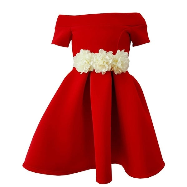 b4a1bd38c Shop Little Girls Red Contrast Dimensional Floral Belt Accent Flower Girl  Dress - Free Shipping On Orders Over $45 - Overstock - 19864323
