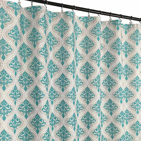 Grey Teal White Fabric Shower Curtain: Floral Moroccan Damask Design
