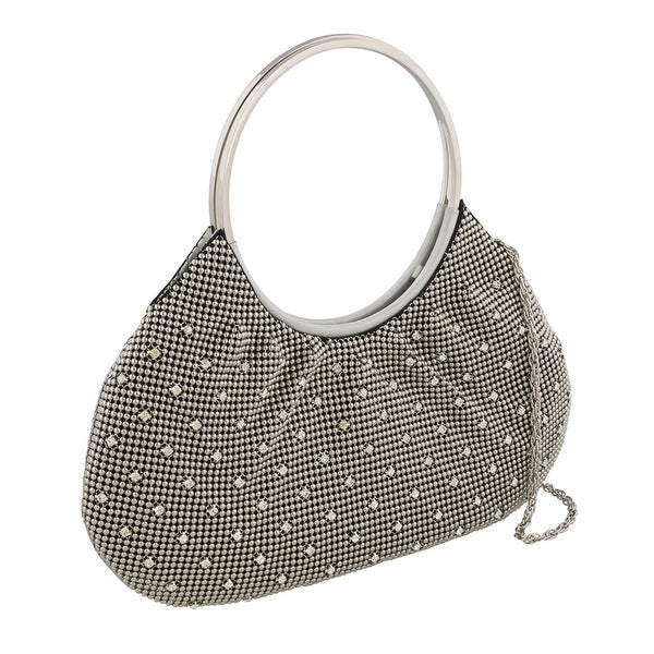 Scheilan Dark Silver Metal Mesh Crystal Embellished Clutch - 12-5-1