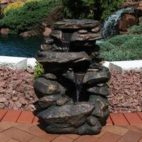 Sunnydaze Rock Falls Outdoor Garden Waterfall Fountain with LED Lights - 27-Inch
