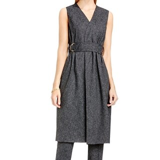 Vince Camuto NEW Gray Womens Size Medium M Belted Pocket-Front Vest