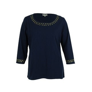 JM Collection Women's 3/4 Sleeve Grommet Trim Top - intrepid blue
