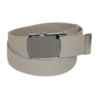 CTM® Cotton Adjustable Belt with Nickel Buckle (Option: Khaki)