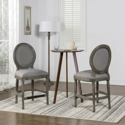 The Gray Barn Argento Mount Upholstered Round Back Counter Height Bar Stool
