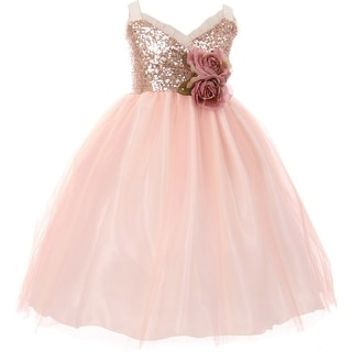 Flower Girl Dress Sequin Bodice Ruffle Bias Trim Blush KK 6411