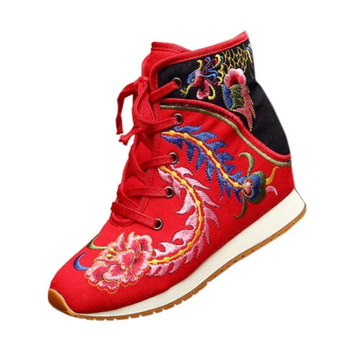 Sports Boots Vintage Beijing Cloth Shoes Embroidered Boots - red/36 - 36