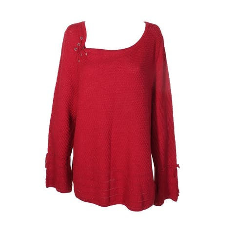 Style Co Plus Size Red Metallic Silver Lace-Up Long Sleeve Bell Cuff Sweater 0X