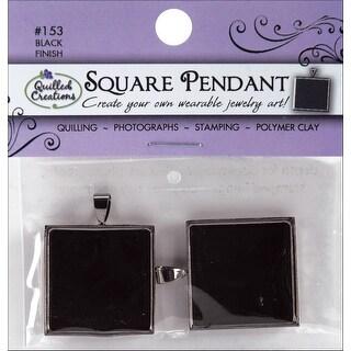"""Jewelry Pendants 1"""" 2/Pkg-Black Square - Black"""