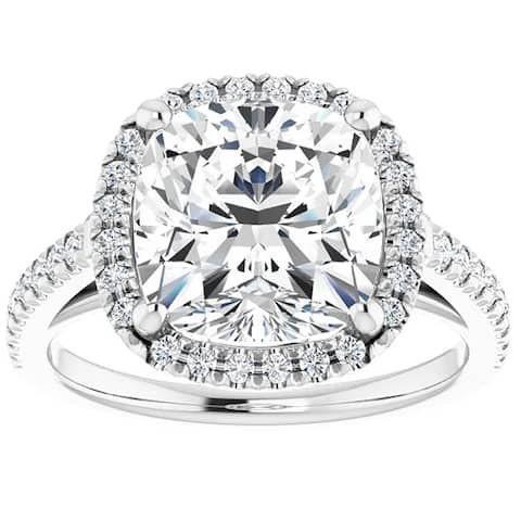 3 1/2Ct Cushion Moissanite & Diamond Halo Engagement Ring White Gold (G-H/VVS1)