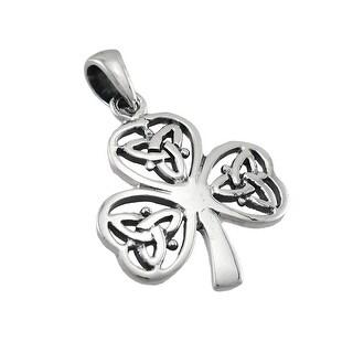 Sterling Silver Celtic Knotwork Shamrock Pendant