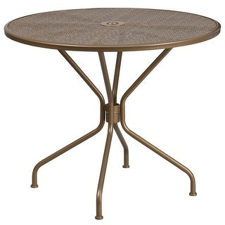 Westbury Round 35.25'' Gold Steel Table for Indoor/Outdoor/Patio/Bar/Restaurant