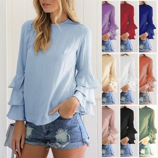Flared Bell Ruffled Flounce Long Sleeve Blouses in 10 Colors