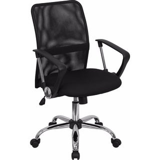 Offex Mid-Back Black Mesh Computer Chair with Chrome Finished Base [OF-GO-6057-GG]