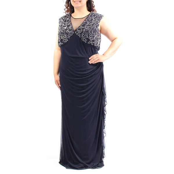 2457354210a Shop Womens Navy Cap Sleeve Maxi Sheath Evening Dress Size  20 - Free  Shipping Today - Overstock - 23451952