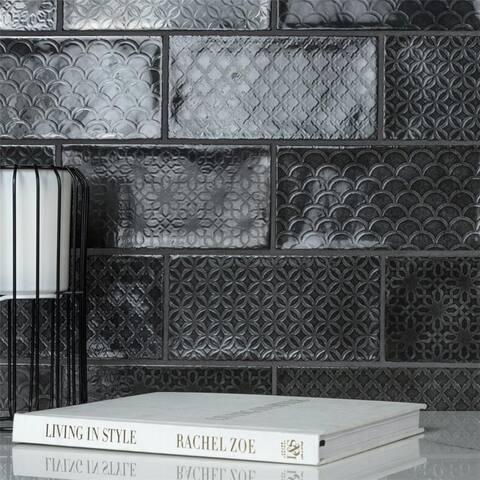 SomerTile Camden Decor Nero 4x8-inch Ceramic Wall Tile - CASE