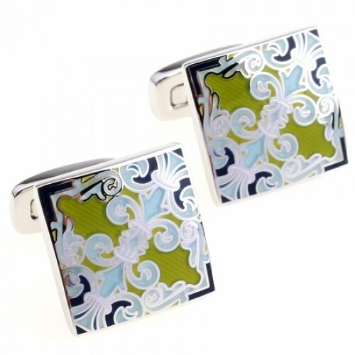 Blue And Green Fleur Di Lis Cufflinks