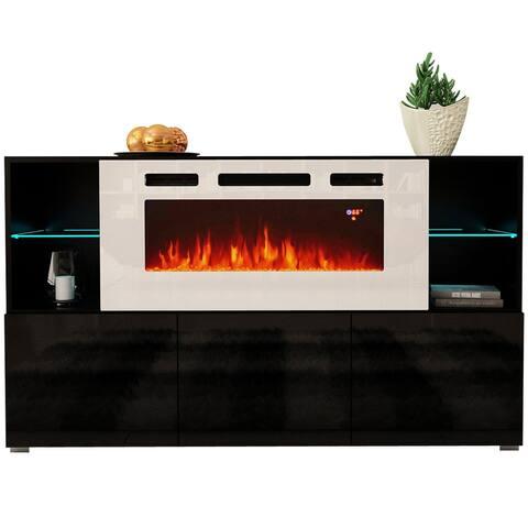 "Komi WH03 Electric Fireplace Modern 63"" Sideboard"