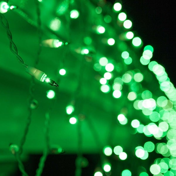 "Wintergreen Lighting 17595 Mini Icicle Lights with 3.5"" Spacing and White Wire - green - N/A"