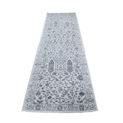 "Shahbanu Rugs Gray Jacquard Hand Loomed Broken Cypress Tree Design Silken Thick and Plush Runner Oriental Rug (2'5"" x 8'0"")"