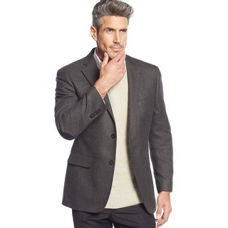 Greg Norman Classic Fit Charcoal Neat Flannel Sportcoat Blazer 40 Regular 40R