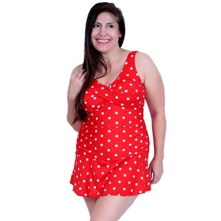 Deep Blue Swim by Oxygen's Red w/White Polka Dot Retro Style Swimdress w/Tank Style Straps