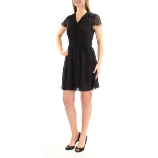 KENSIE Womens Black Belted Polka Dot Cap Sleeve Collared Above The Knee Sheath Dress  Size: S
