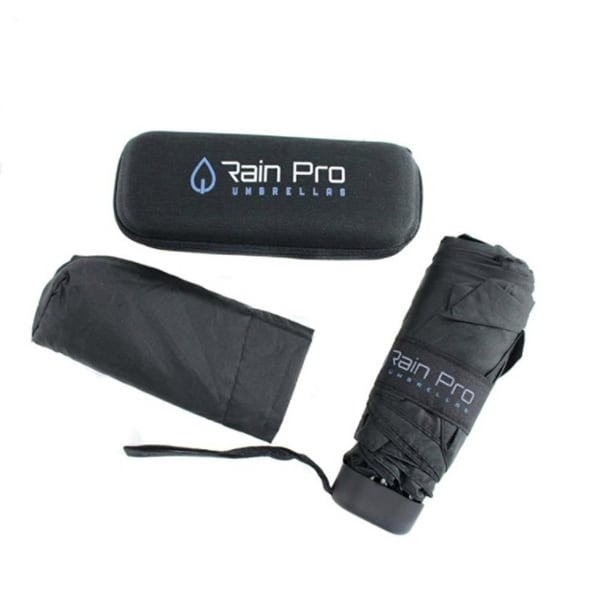 Rain Pro Compact Black Glove Box Micro Umbrella with Zip Up Case