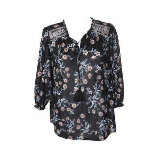 Style & Co Plus Size Black Embroidered-Yoke Floral Tie-Neck Blouse 0X