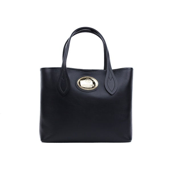 7a5147a08 Roberto Cavalli Women's Firenze Black Small Leather Shopping Tote Bag ~RTL