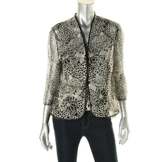 Alex Evenings Womens Embroidered Floral Twinset - L
