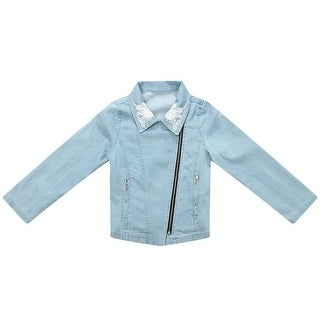 Richie House Little Girls Blue Denim Embroidered Coat 3-6
