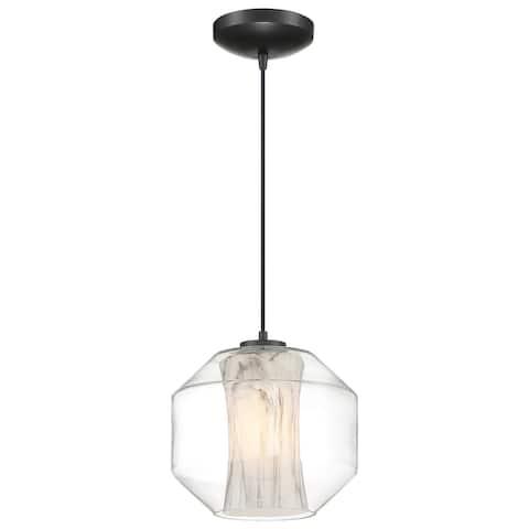 Access Lighting I-Biza Black LED Round Pendant with White Marble Glass