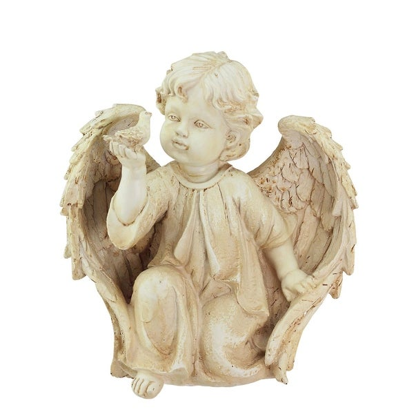 "10.25"" Heavenly Gardens Distressed Ivory Cherub Angel on Bended Knee with Dove Outdoor Patio Garden Statue"