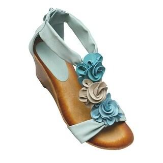 Women's Patrizia Harlequin Sandals - T-Strap With Wedge Heel  - Aqua