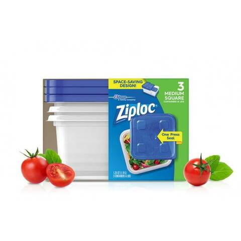 Ziploc 70937 Medium Square Containers & Lids w/ One Press Seal, 5-Cup, 4-Count