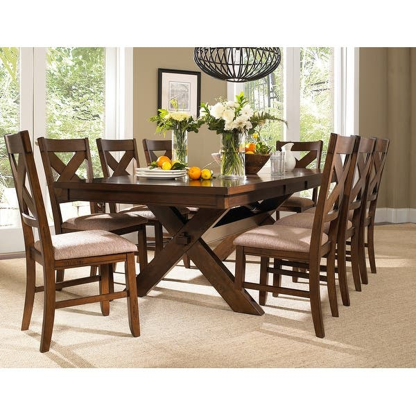 9 Piece Solid Wood Dining Set With Butterfly Leaf On Sale Overstock 11691458