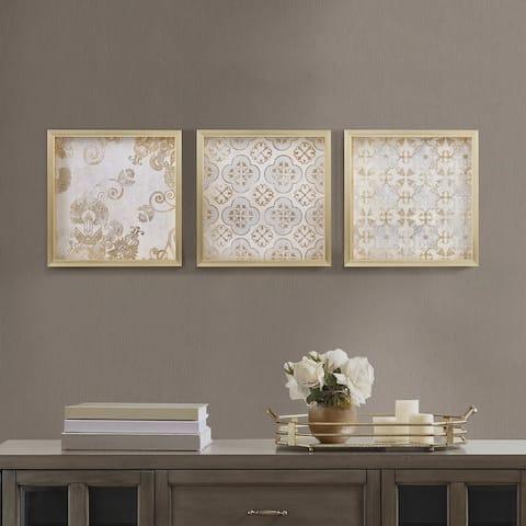 Madison Park Golden Impressions Drop Lip Gold Foil Framed 3 Piece Wall Art Set