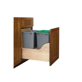 Rev-A-Shelf TWCSD-18DM-2 TWCSC Series Bottom Mount Double Bin Trash Can with Blu