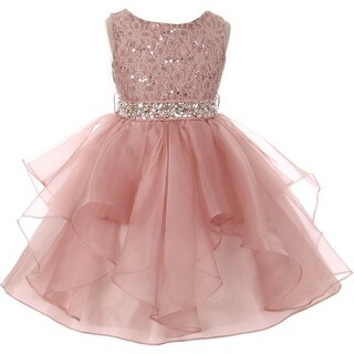 Flower Girl Dress Sequin Lace Top Ruffle Skirt Blush MBK 357 (5 options available)