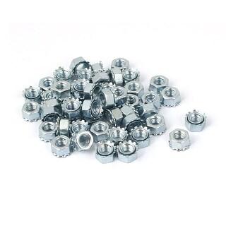 M5 Thread Dia Zinc Plated Kep Hex Star Lock Nut 50pcs
