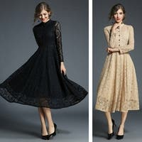 Vintage Long Sleeve Jacquard Pleated Party Lace Dress