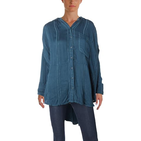 bb5c3ea5 Free People Womens Cozy Nights Button-Down Top Oversized Long Sleeves