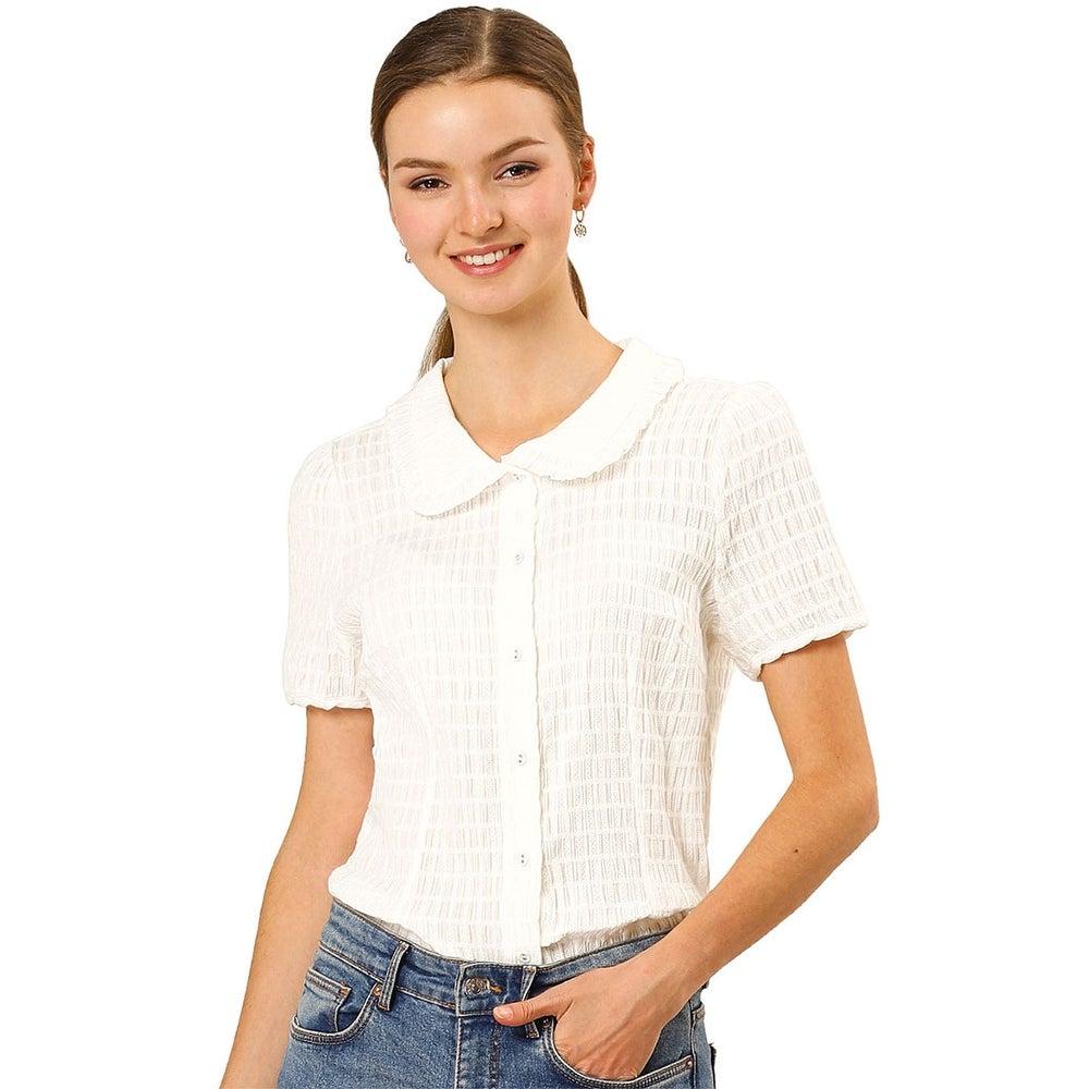 Allegra K Womens Sweet Peter Pan Collar Button Down Soft Shirt Blouse