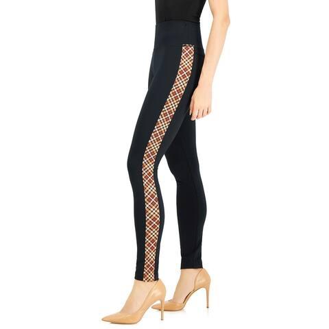 INC International Concepts Womens Plaid-Trim Ponte Skinny Pants 6 Neutral Plain