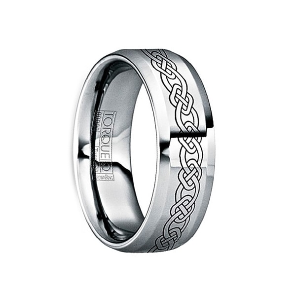 MAXIMINUS Black Celtic Knot Engraved Tungsten Ring with Polished Finish by Crown Ring - 6mm