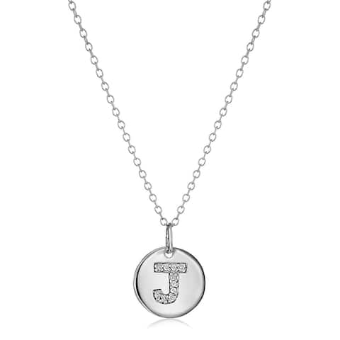 'J' Initial Disc Pendant with Diamonds in Sterling Silver, 18""