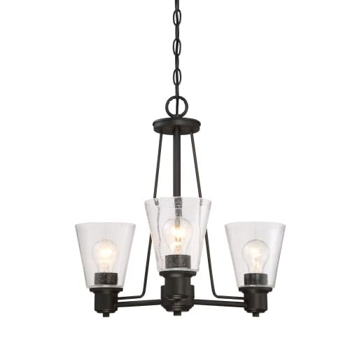 Designers Fountain 88083 Printers Row 3 Light Pendant with Clear Seedy Shade