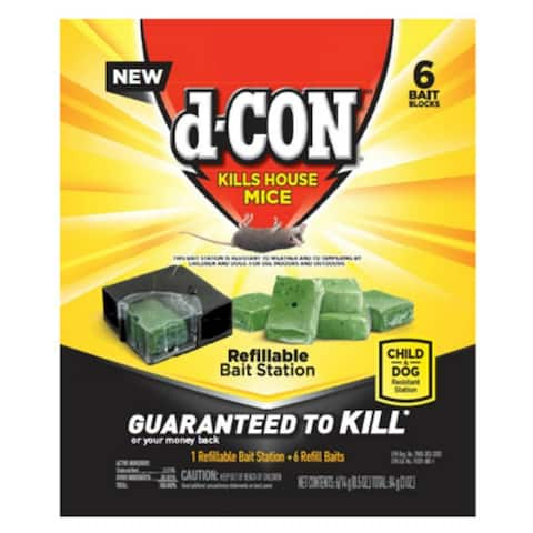 d-CON 1920098665 Refillable Mice Bait Station with 6 Refill Baits
