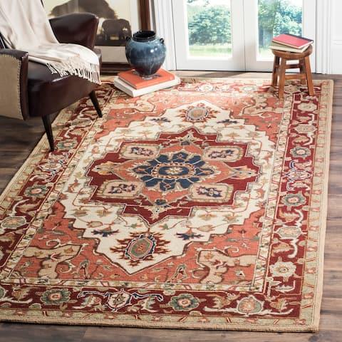 SAFAVIEH Hand-hooked Heriz Red/ Ivory Wool Rug